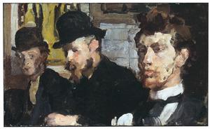 Groepsportret met van links naar rechts de kunstenaars Carel Adolph Lion Cachet, Gerrit Willem Dijsselhof en Theo Nieuwenhuis
