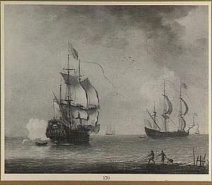 Oorlogsschip lost saluutschot; in de voorgrond trekken vissers netten op het droge