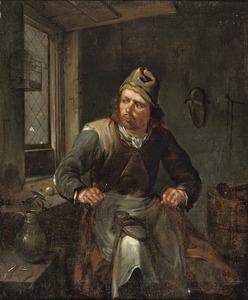 Een schoenmaker in zijn werkplaats