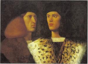 Portret van twee jonge mannen