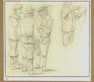 Drie staande boeren en een boogschutter
