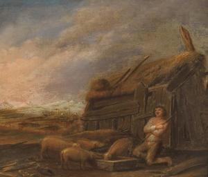 Landschap met boerderij en de Verloren Zoon die de zwijnen hoedt