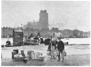 Blik op de haven van Dordrecht