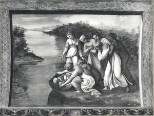 Mozes wordt door de dochter van farao en haar dienaressen in de Nijl gevonden (Exodus 2:5-6)