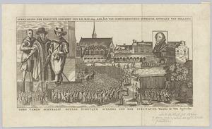 Gezicht op het Binnenhof te Den Haag met de onthoofding van Johan van Oldenbarnevelt (1547-1619)