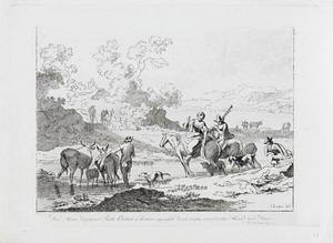 Landschap met ruiters en vee bij een doorwaadbare plek
