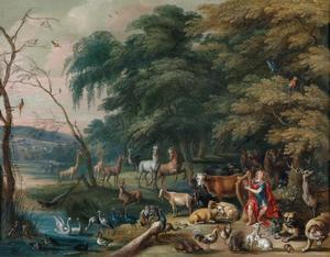 Boslandschap met Orpheus die de dieren betovert