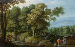 Boslandschap met figuren en vee