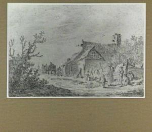 Landschap met figuren bij een huis