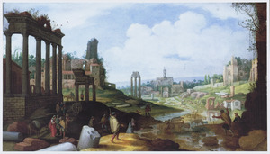 Gezicht op het Forum Romanum met herders