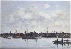 Zicht op Dordrecht vanaf de Maas