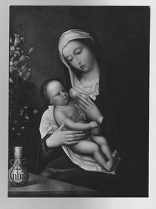 Maria met kind en vaas met lelies en andere bloemen