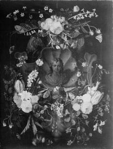 Cartouche met Christus omringd door een krans van bloemen