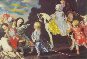 Spelende kinderen met een kinderportret van Eleonora Sophia (1651-1678) Wrangel af Salmis en haar broer Carl Filip Wrangel af Salmis