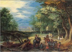 Jagers in een boslandschap