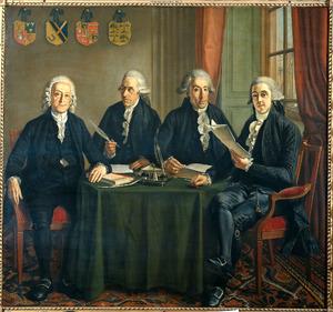 Portret van de vier Oppercommissarissen der havens,walen en kranen van Amsterdam