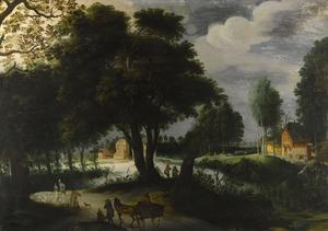 Bebost landschap met figuren op een pad en gebouwen in de achtergrond