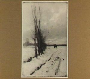 Sneeuwlandschap bij ondergaande zon