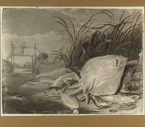 Visstilleven op een oever; links man met hond op een bruggetje