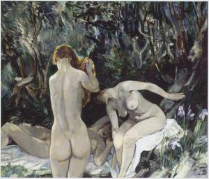 Drie badende vrouwen