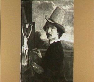 Zelfportret met een schilderij van Christus aan het kruis