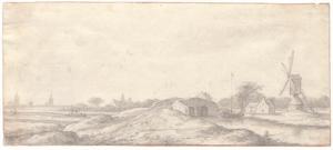 Landschap bij Delft met een brug, molen en huizen