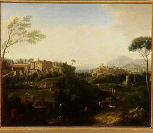Italianiserend landschap met stad op de achtergrond