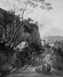 Italianiserend heuvellandschap met waterval en kapel