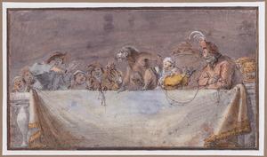 Boerengezelschap met aapje achter een balustrade