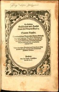 Titelpagina Des Fürstlichen Geschlechts und Hauses Gülich/Clef/Berg und Marck/etc. Stamm Register [...]