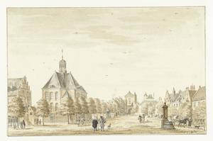 Geestmarkt in Emmerik met het Latijnse Gymnasium, de Gereformeerde Kerk en de Steenpoort (Steintor)
