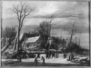 Winterlandschap met kolfspelers