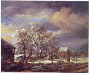 Winterlandschap met een besneeuwde boomgroep