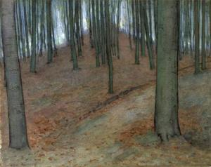 Wood with beech trees, watercolor