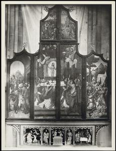De ontmoeting van Abraham en Melchizedek, de Gregoriusmis (buitenzijde linkerluik); De Gregoriusmis, het verzamelen van de mann (buitenzijde rechterluik); De doop van Christus (buitenzijde rechter bovenluik)