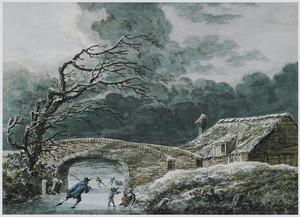 Winterlandschap met schaatsers bij een brug