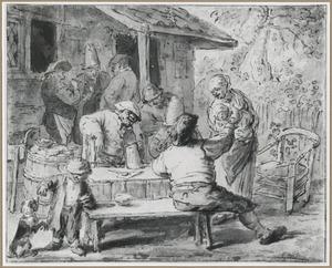Boeren met kinderen rond een tafel voor een huis