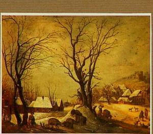 Winterlandschap met houthakkers, boeren, varkens en geiten aan de rand van een dorp