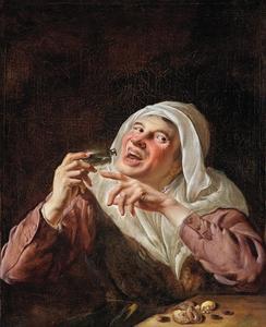 Vrouw met een flesje en snoepgoed: allegorie op de smaak