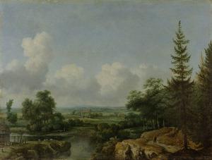Scandinavisch landschap met een riviertje en boerderijen