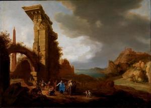 Italianiserend landschap met Christus en de hoofdman van Kafarnaüm