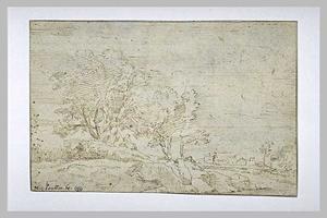 Heuveliglandschap met zittende mensen en bomen
