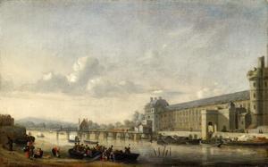 Gezicht op de Seine met de zuidelijke façade van de Grande Galerie van het Louvre