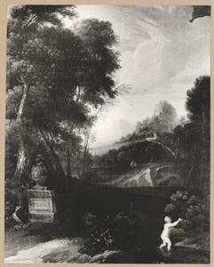 Landschap met Arethusa vluchtend voor Alpheus, die in een rivier veranderd wordt