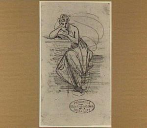 Lezende jonge vrouw, zittend aan een tafel
