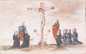 Portret van Adriaen Willemsz. van Ploos (....-1540) en familieleden ter weerszijden van de kruisiging