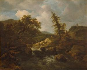 Berglandschap met waterval en jagers