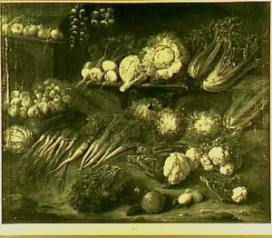 Stilleven met uien, bloemkool, wortelen en andere groente