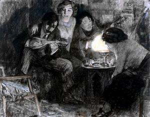 Groepsportret van Jan Ponstijn (1883-1970), een vrouw genaamd Marie Boendermaker-Schoenmakers(1882-1947), waarschijnlijk Dirk Filarski (1885-1964) en een onbekende vrouw