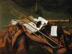 Stilleven met fluit, fagot en trompet